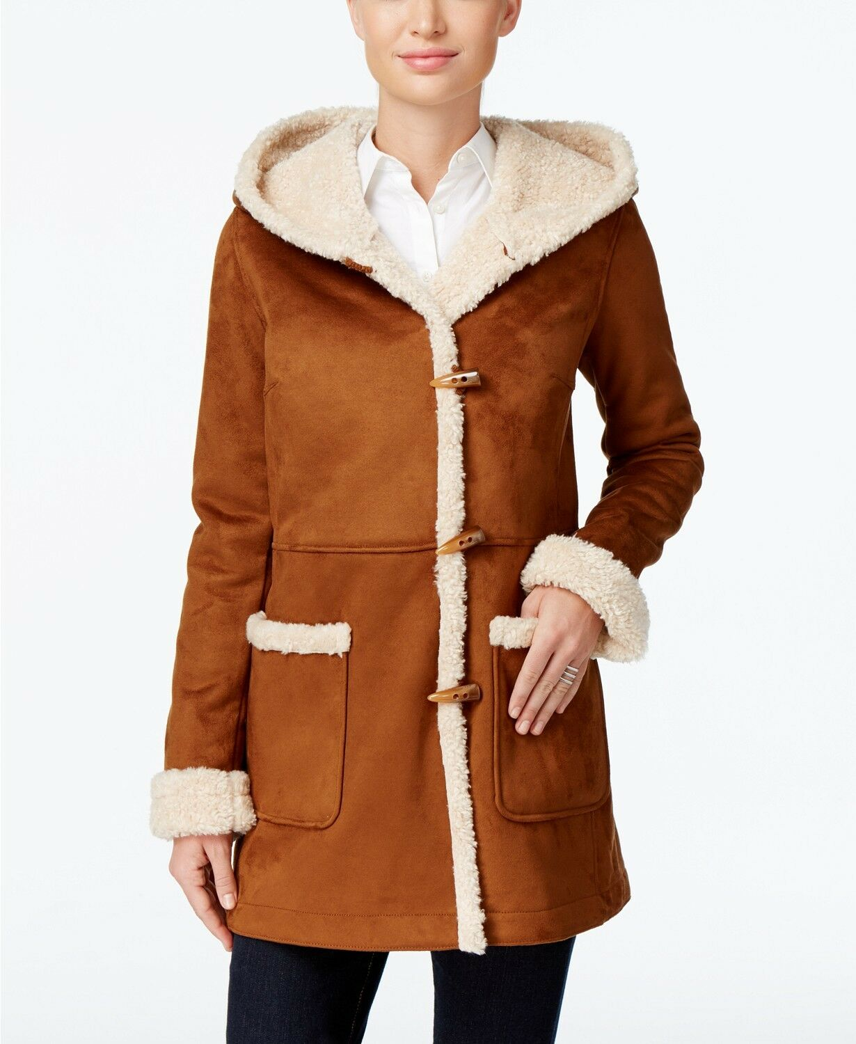 Jones New York Hooded Faux-Shearling Toggle Coat MSRP  Size S WN 215 S N