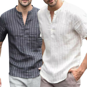 US-Summer-Men-039-s-Linen-V-Neck-Short-Sleeve-Basic-Tee-T-shirt-Casual-Tops-Blouse