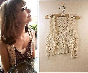 Women-Girl-Lace-Crochet-Knit-Hippie-Bohemian-Cami-Tops-Blouse-Cape-Vest-Shawl