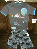 Disney Camo Planes Short And Gray Polo Shirt Set Color Size: 3t, 4t W/tag