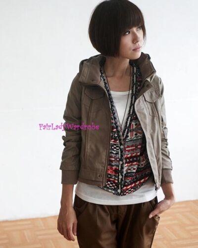Milk Tea Japan 2 Way Hood Zipper Quality Faux Leather Jacket