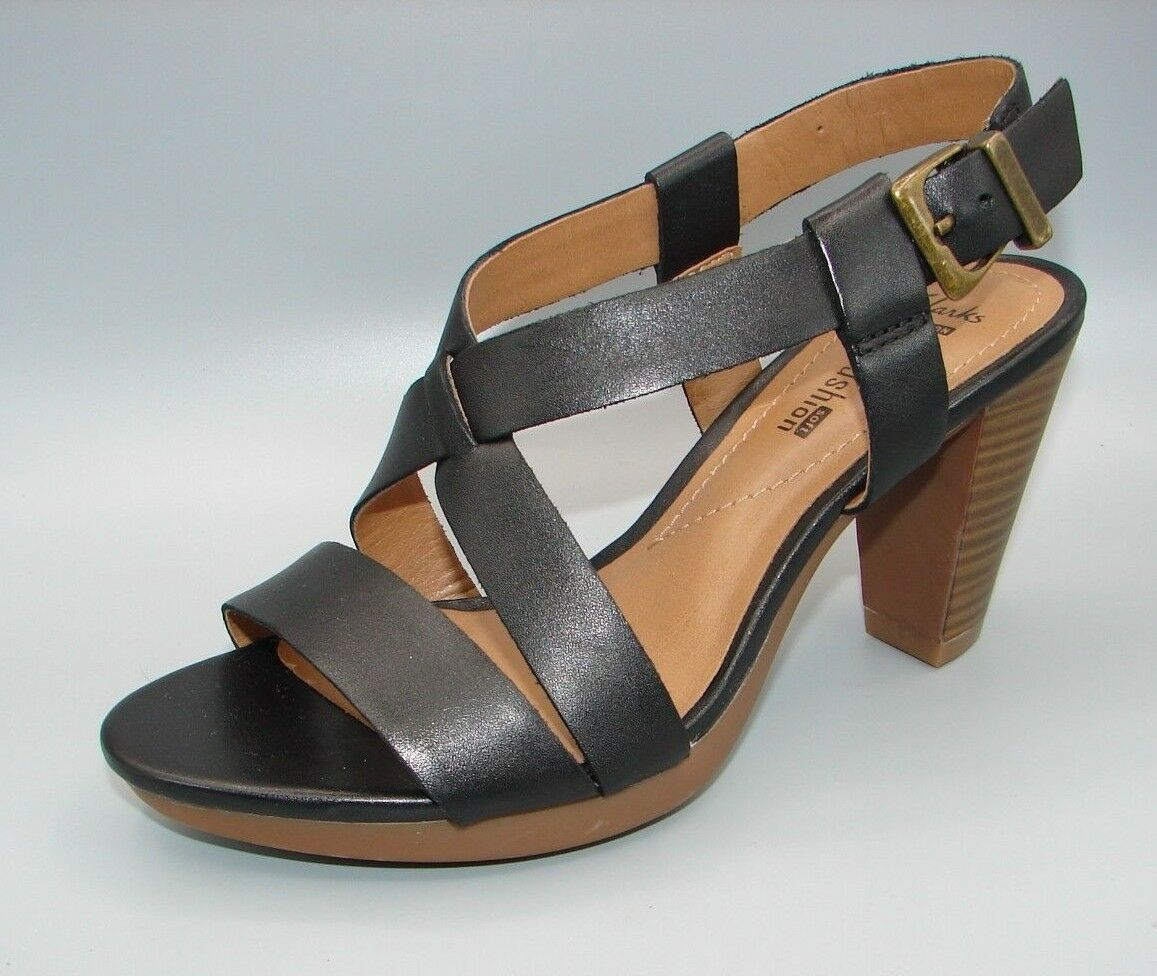 """JAELYN FOG""Clark's Women's/Ladies Black Leather Sandals size UK 5 D"