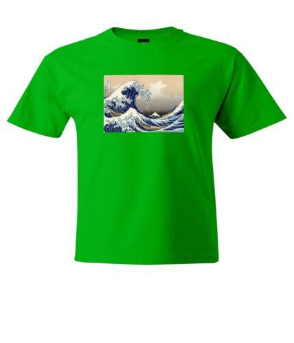 Japan art The Great Wave off Kanagawa Mens Unisex Crew Neck Top Tee T-Shirt