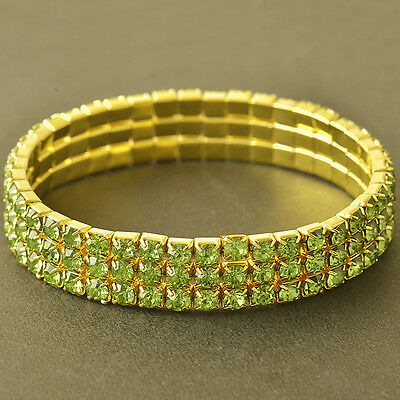Womens Yellow Gold plated 3-Row Green Crystal Stretch Chain Tennis Bracelet