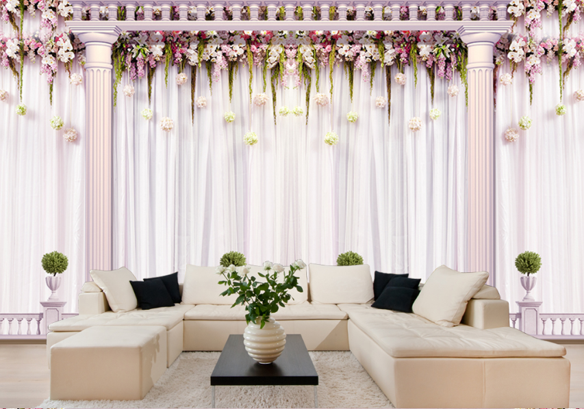 3D Flowers House Eaves Paper Wall Print Wall Decal Wall Deco Indoor Murals