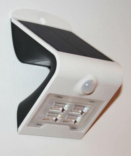 Solar LED Wandleuchte weiß mit Bewegungsmelder Helligkeitssensor und Akku