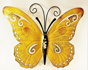 Image Is Loading Butterfly Hand Painted Metal Wall Art Yard Amp