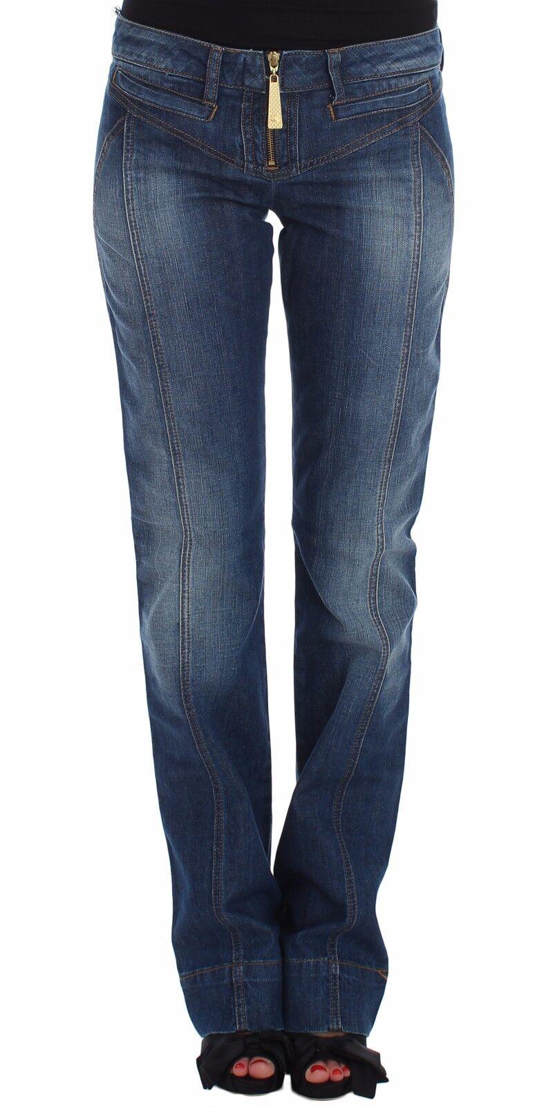 NWT JUST CAVALLI Jeans Pants bluee Wash Cotton Stretch Boot Cut Denim s. W28