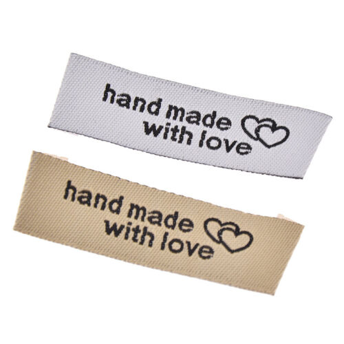 50 Pcs Handmade With Love Cloth Labels Garment Tag Clothing Sewing Accessories