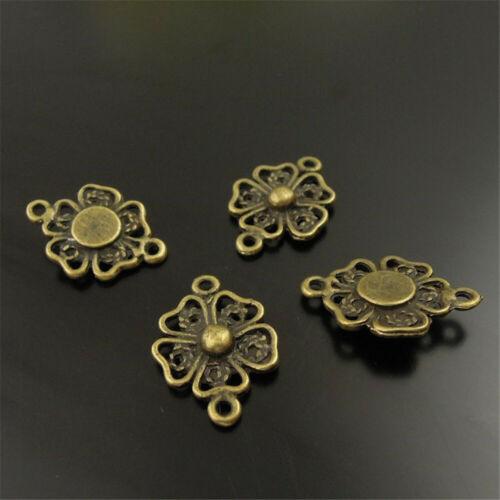 40pcs Vintage Bronze Alloy Flower Connector Pendant Charms Jewelry DIY Accessory