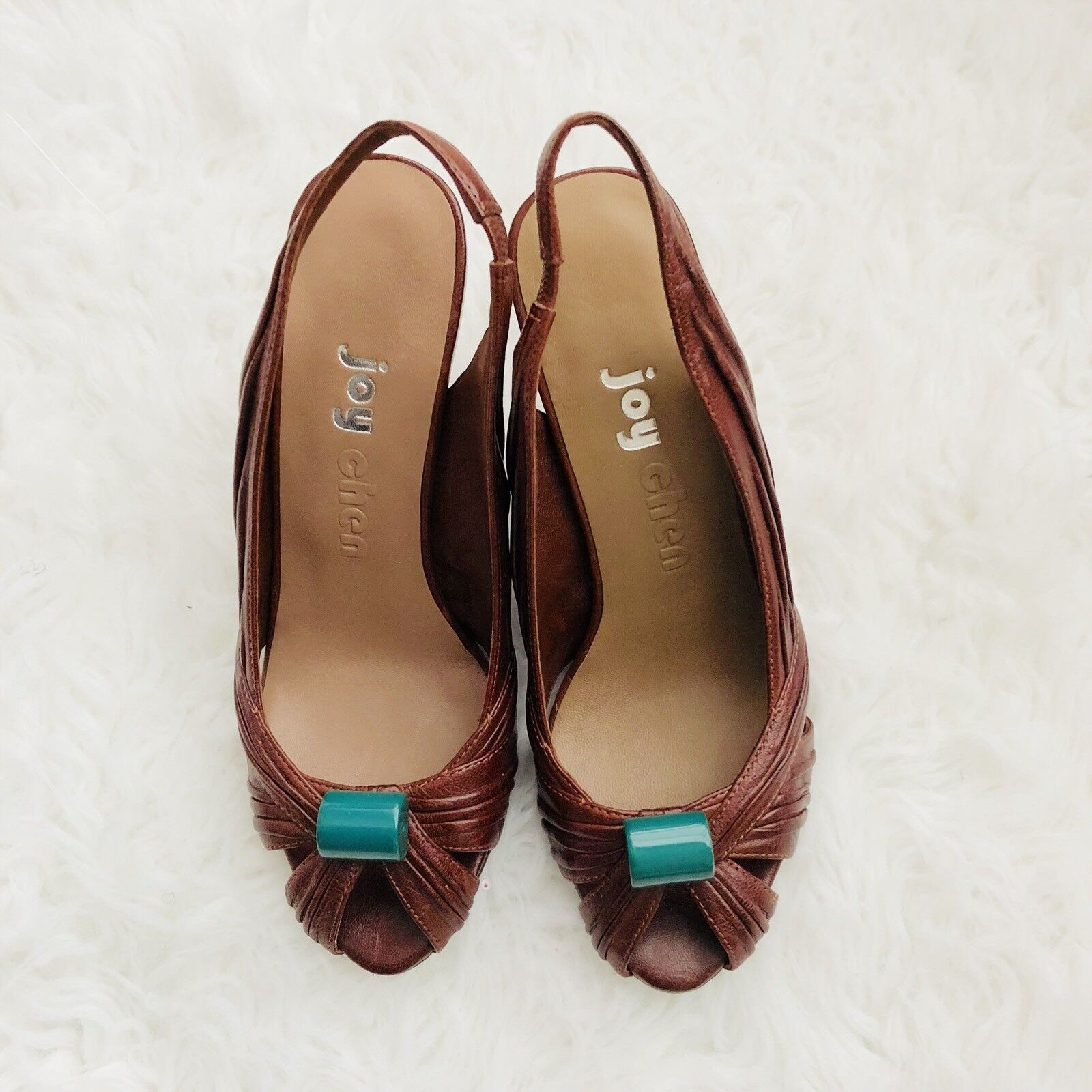 JOY CHEN Brown Turquoise Leather Peep Toe Slingback shoes Size 6.5