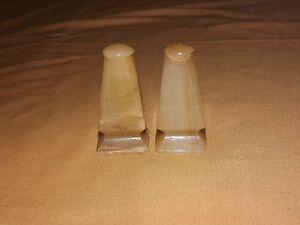 """VINTAGE KITCHEN  2 7/8"""" HIGH MARBLE SALT & PEPPER SHAKERS"""