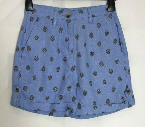 Prossimo Stampa Blu o Nero Misto Lino Tasca Pantaloncini Taglia 6-22 n-67h