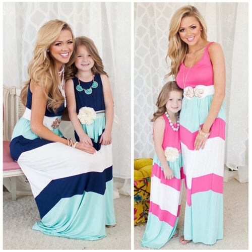 Mother and Daughter Casual Boho Stripe Maxi Dress Mommy/&Me Matching Outfits