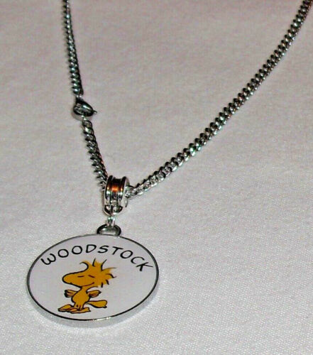 Woodstock Charm//Pendant Necklace on Stainless steel Curb Chain Handcrafted