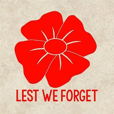 Lest we forget remembrance day rememberance window vinyl sticker decal poppy car