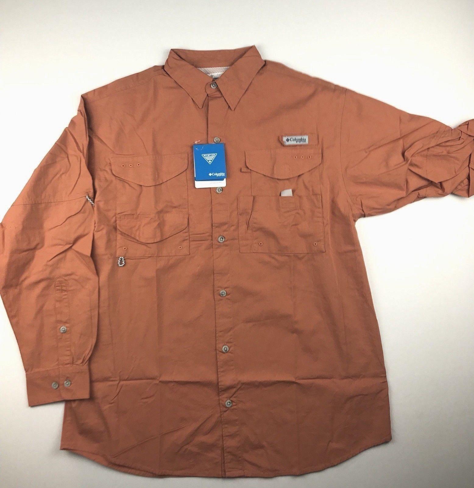 Columbia PFG Mens XLarge Rust Bonehead Roll Up Long Sleeve Button Shirt NWT