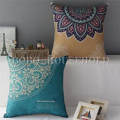 Vintage Geometric Flower Linen Cotton Pillow Case Cushion Covers Sofa Home Decor