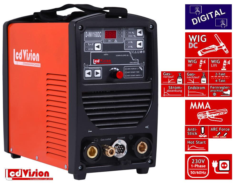 D-INV-160 WIG TIG Inverter Schweißgerät Digital DC DC DC MMA HF/Lift 5-160A 230V IGBT 9dd7bc