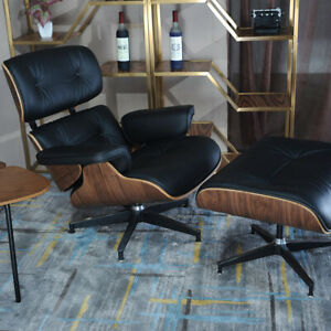 Eams-Plywood-Chair-amp-Ottoman-100-Top-Genuine-Leather-Lounge-Chair-Black-Walunt