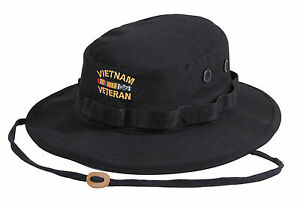 Details about Vietnam Veteran's Boonie BLACK Deluxe Military Style Custom  Embroidered Hat 5938