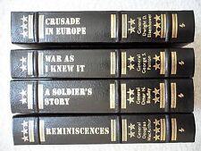EASTON PRESS LEATHER LOT 4~Patton~MacArthur~Bradley~Eisenhower~WW II GENERALS~