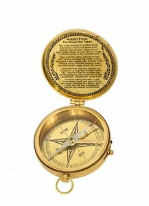 """Nautical Flat Compass 3"""" Solid Shiny Brass Robert Frost poem Engraved replica"""