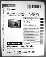 Canon Powershot Sd630 Ixus 65 Digital Camera User Guide Instruction Manual