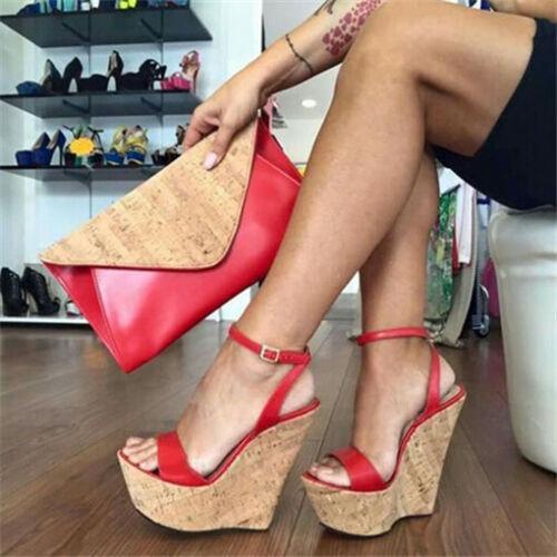New Ladies Wedge High Heel Sandals Slingback Peep Toe Casual Roma Platform Shoes