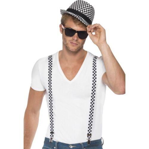 Men/'s 1980/'s Two Tone Ska Madness Hat Braces Instant Kit Olly Murs Fancy Dress