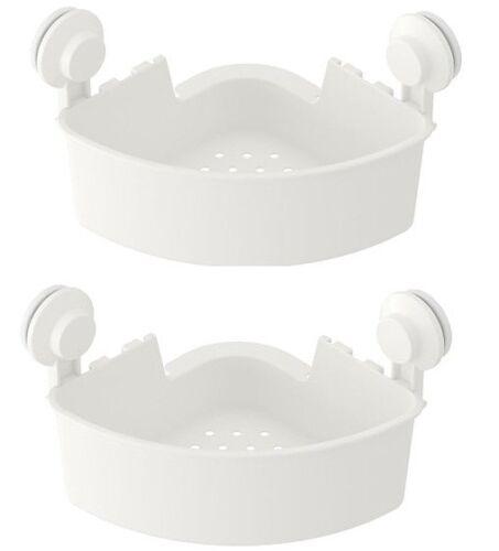 2 X IKEA  New TISKEN Corner shelf unit with suction cup White 204.003.04 UK-B786