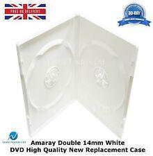 5 DOUBLE BIANCO Amaray DVD di 14 mm spina dorsale di alta qualità Custodia di Ricambio NUOVI UK