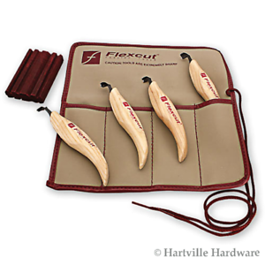 Flexcut #KN150 4-Piece RIght Hand Scorp set with Honing Stone and Pouch