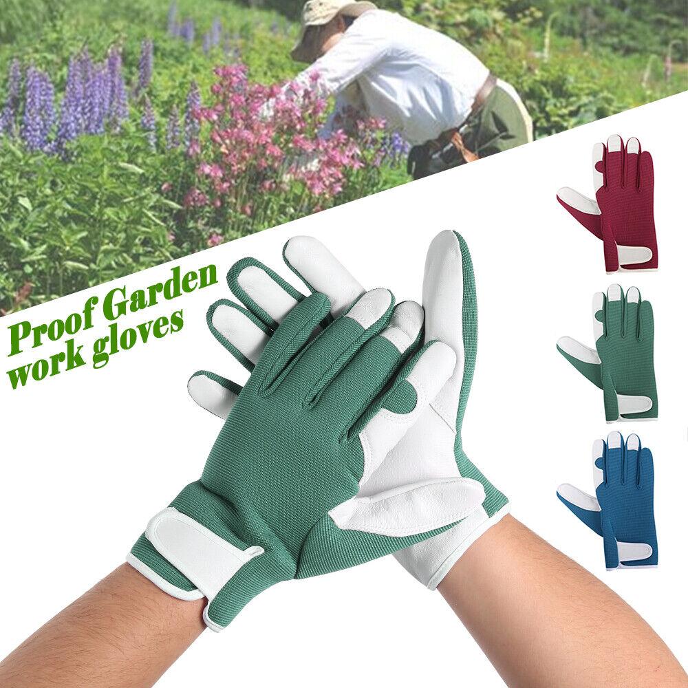 Ladies / Mens Leatherette+duty Gardening Gloves Thorn Proof Garden work gloves 8