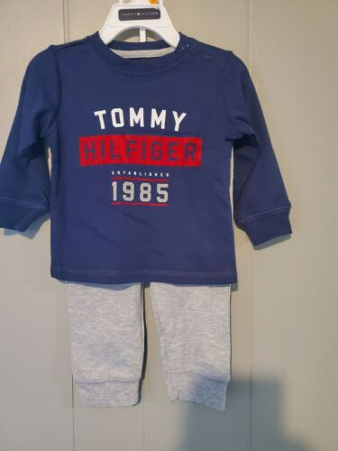 NWT TOMMY HILFIGER 2-piece outfit blue with gray Sweats 12 months
