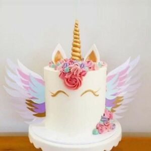 Unicorn Birthday Cake Topper Wings Horn Flower Baby Shower Party
