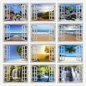 Details About Prepasted Mural Wallpaper Wall Covering Home Decor Window Waterfall Sea Scenery