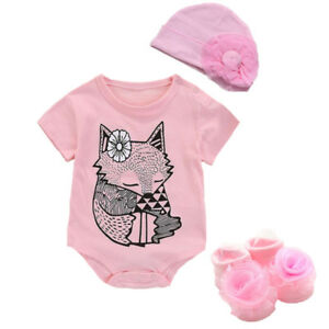 04d61d84feffb Newborn Baby clothes girls bodysuit +hat +socks cotton jumpers baby ...