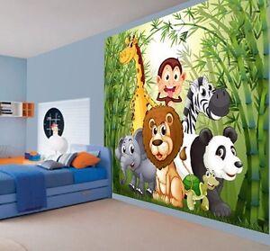 Dibujos animados animales mono le n cebra panda papel pintado pared mural foto ebay Papel pintado animales