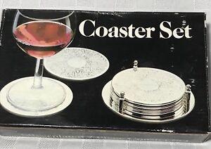 Leonard-Silver-Plated-7-Piece-Coaster-Set-Engraved-6-Coaster-amp-Caddy-Vintage