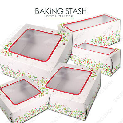 Christmas Cupcake Box Pack of 5 Holly Design  6 or 12 hole inserts