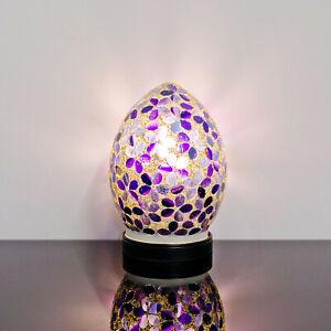 Purple Flower Small Mosaic Glass Egg Lamp