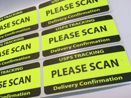 USPS TRACKING DELIVERY CONFIRMATION PLEASE SCAN Labels//Stickers 25 1.25 x 3  NEW