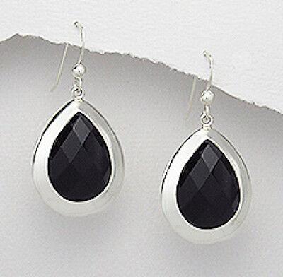 35mm Slender Black Onyx Teardrop Leverback Earrings Onyx Dangle Earrings Black Earrings Black Drop Earrings Solid 925 Sterling Silver