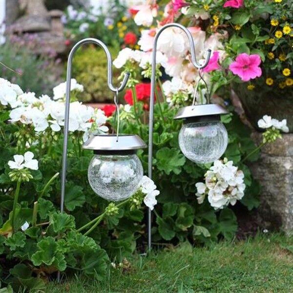 Smart Garden Hanging Crackle Globe on Hook Solar Garden Light - Pack of 2
