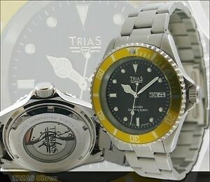 TRIAS-Uhren-Fliegeruhr-Militaeruhr-Edelstahluhrarmband-Herrenuhr