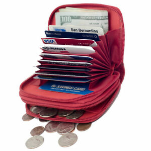 Red-Leather-Women-Accordion-Wallet-Credit-Business-Card-ID-Holder-Zip-Around