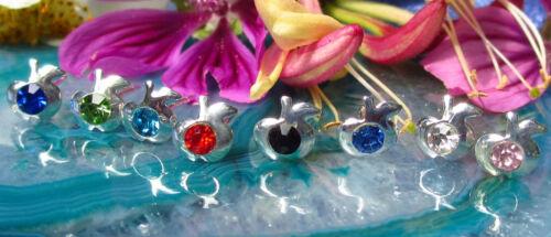 Ohrstecker Ohrring Apfel Silber u Kristall rosa Symbol für ewige Jugend