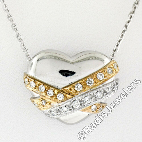 "Platinum & 18k Rose Gold .28ctw Diamond Puffed Heart Slide Pendant w 18"" Chain"
