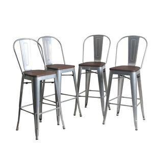 4-Metal-Steel-Bar-Stools-30-034-Counter-Chairs-Barstool-High-Back-Wooden-Silver